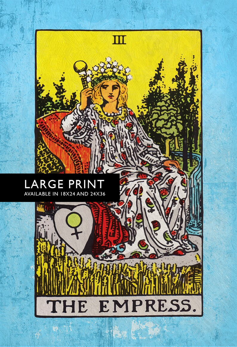 Tarot Print The Empress Retro Illustration Art Rider Print Vintage Giclee  on Cotton Canvas and Satin Photo Paper