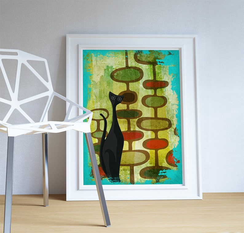 Mid Century Modern Print Cats Abstract Art Print Poster Giclee on Cotton Canvas and Satin Photo Paper