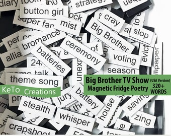 Big Brother USA TV Show Word Magnets - TV Show Word Magnets - Word Poetry Magnets