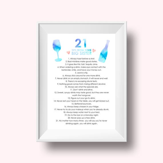 21 Tips From Your Big Sister Print 21st Birthday Gift