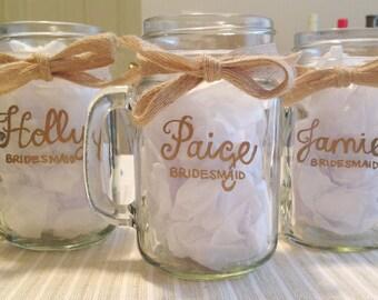Bridesmaid Mugs, Bridal Party Mugs, Personalized Mugs, Hand Painted Mugs