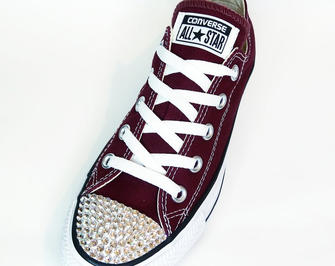 LUXURY Maroon/Bordeaux/Red Customised Swarovski Chuck Taylor All Star Seasonal Converse
