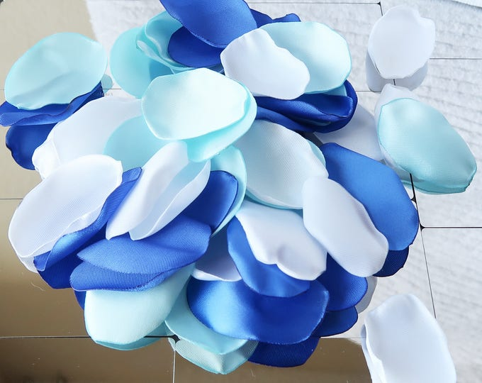 PREMIUM Royal Blue, Pastel Blue and White Rose Petals / Wedding Rose Petals / Decor Rose Petals / Flower Girl Rose Petals / Confetti