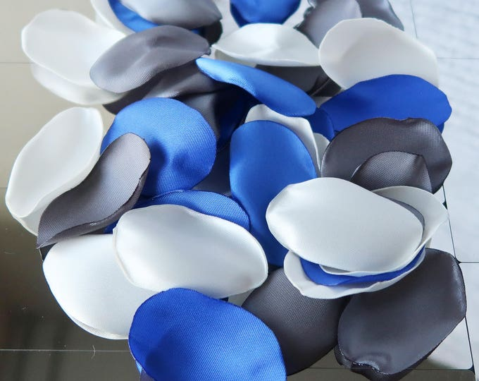 PREMIUM Grey Silver, Ivory and Royal Blue Rose Petals / Wedding Rose Petals / Decor Rose Petals / Flower Girl Rose Petals / Confetti
