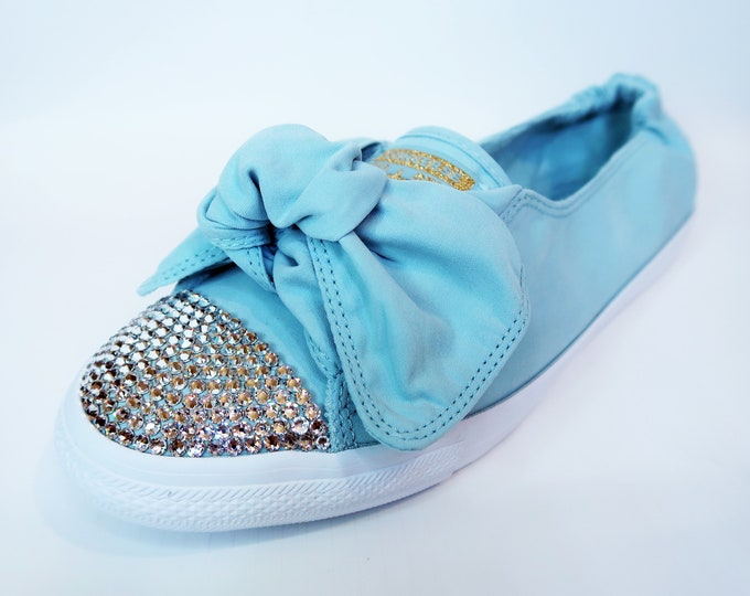 LUXURY Ocean Bliss Customised Swarovski Chuck Taylor All Star Knot Slip Converse