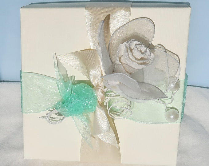 ELEGANT Decorated Gift Box, Wedding Favour Box, Jewellery Gift Box, Reuseable Gift Box, Baptism Christening Gift Box, Birthday Gift Box