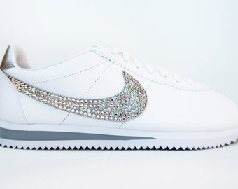 new concept 82578 55c9a LUXURY White Customised Swarovski Leather Nike Cortez Shoes  Wedding  Honeymoon  Bridesmaid  Everyday  Shoes  Various Colours