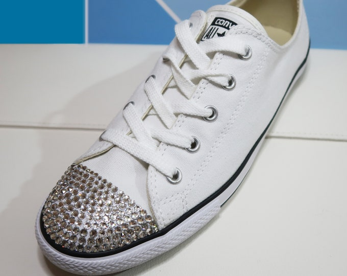 LUXURY White Customised Swarovski Chuck Taylor All Star Dainty Converse for Weddings / Honeymoon / Bridesmaids / Everyday / Events