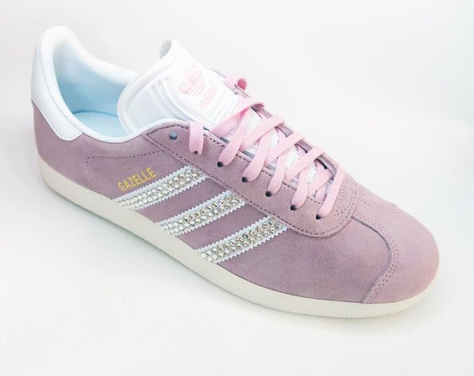 LUXURY Pink Customised Swarovski Adidas Gazelle Womens Shoes