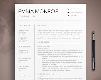 Creative Resume Template, CV Template + Cover Letter for MS Word & Pages, Instant Digital Download, Modern Resume Template, Teacher CV, Emma