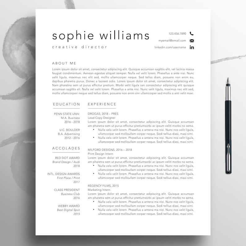Modern Resume CV Template 1 3 Page Professional
