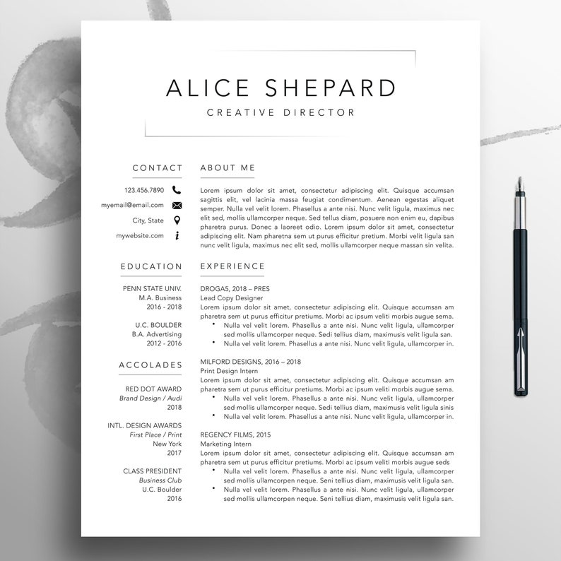Modern Resume, CV Template, 1-3 Page Template, Professional Resume Template  Mac Pages, Creative Resume Template Word, Resume Download, Alice