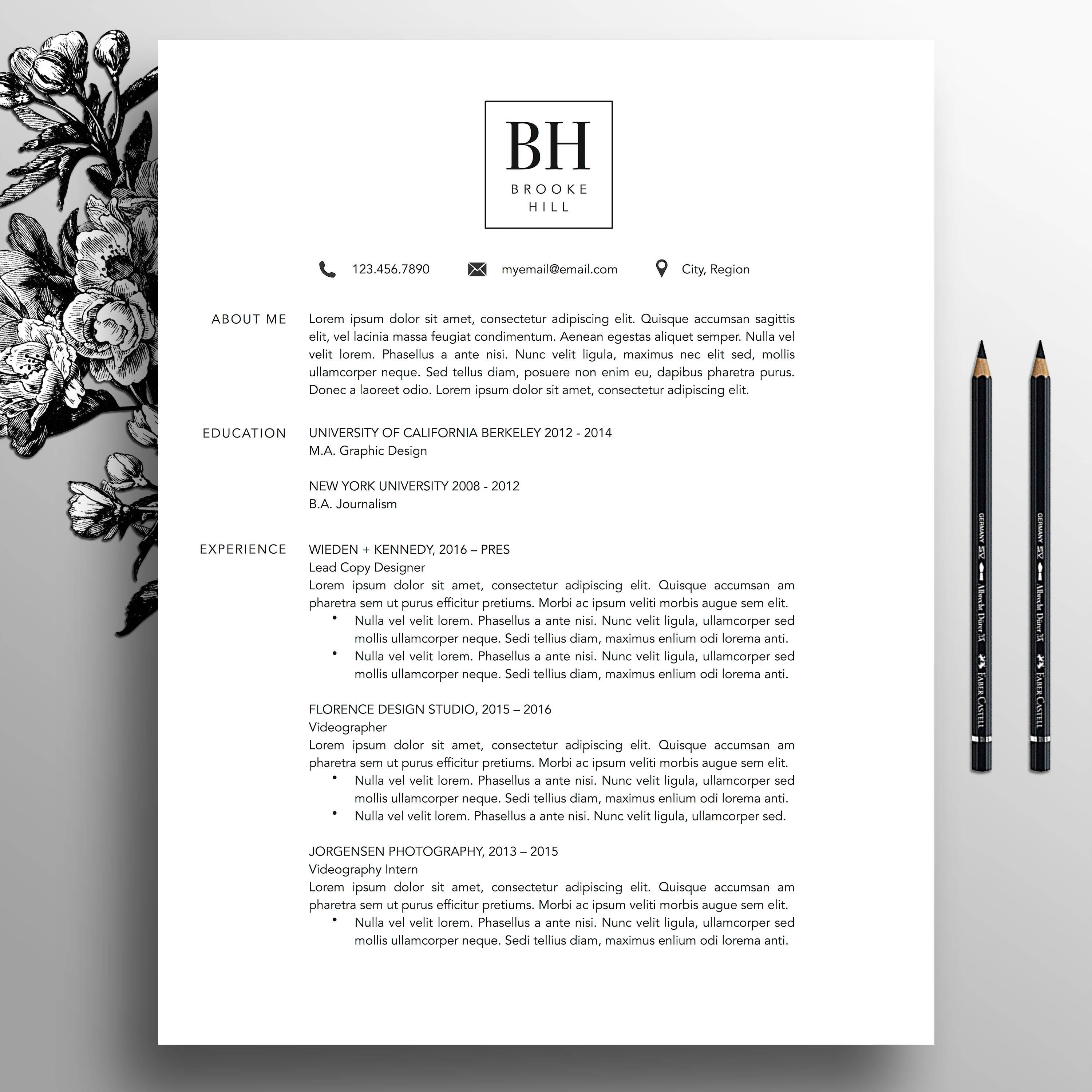 Modern Resume Template Professional CV Template MS Word | Etsy