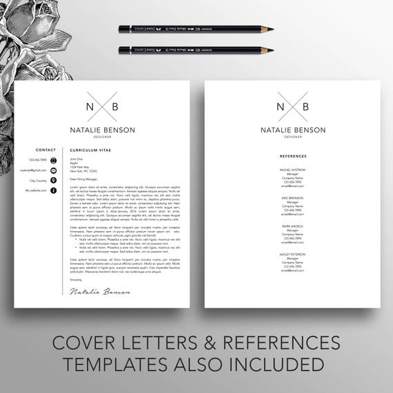 modern resume template cover letter template for word etsy