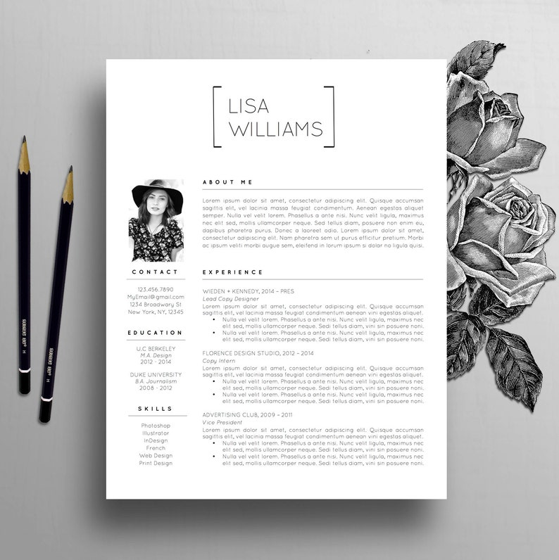 creative resume template instant download word cv template