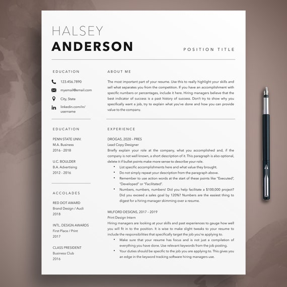 Professional Resume Template Cover Letter Template Etsy