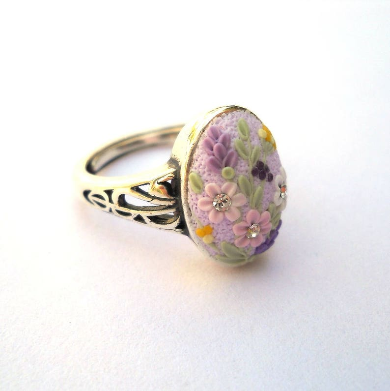 Art Deko Ring Sterling Silver Ring Polymer Clay Jewelry Clay Embroidery Light Purple Ring Polymer Clay Ring Floral Ring