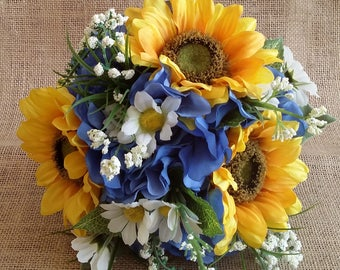 Yellow/Blue Bridesmaid Bouquet