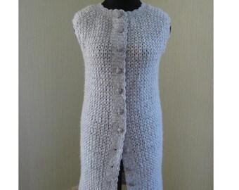Cardigan Coat Jacket M Handmade Knit Crochet Mohair Ready to ship