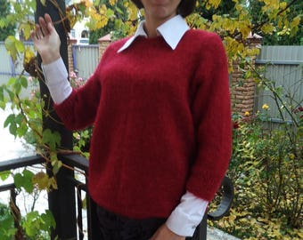 Sweater Pullover Jumper Knit Hand made Mohair Fuzzy Red  M L Ready to ship