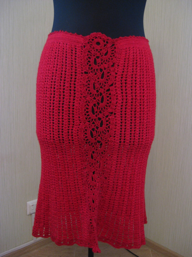 Suit Jacket Blouse Skirt Costume Knit Hand made Crochet wool size L red fall winter Fishnet Costume Ready to ship