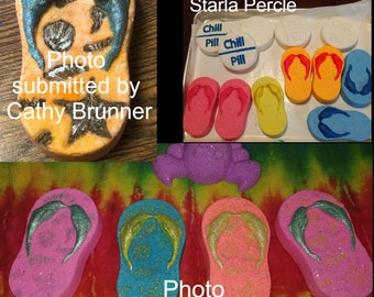 Kitchen & Home NEW Summer FLIP FLOP Sandals Cookie Chocolate Candy Fondant Plaster Clay Mold Kitchenware