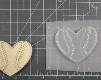 Heart Baseball Plastic Mold or silicone mold, Resin Mold, heart Mold, clay mold, baseball mold, sport mold, ornament, soap mold, jewelry