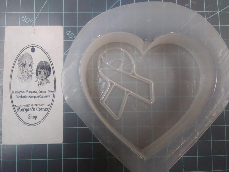 chocolate mold soap mold cancer ribbon mold ribbon mold Heart Awareness Ribbon Plastic Mold or Silicone mold resin mold bath bomb mold