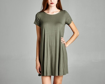 Women's Solid Dress / Round Neck Short Sleeve / Loose Fit Flared Tunic Dress / Casual Dress / Shirtdress
