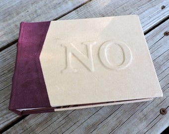 Hard bound book hand stitched embossed initials sketchbook journal leather