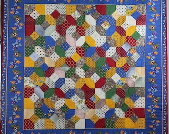 French Bow-Tie Handmade quilt, with three dimensional bow tie blocks