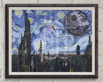 """STAR WARS Van Gogh """"A Starry Wars Night"""" Giclee Art Print - Wall Art, Painting, Gift for Her, Gift for Home, Gift for Him, Pop Art"""