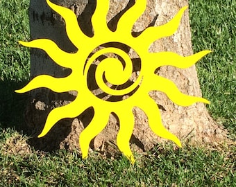 "Summer Sun - Tribal Sun,   Plasma Cut, Metal Sign - 12"" diameter"