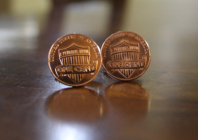 history novelty for him stocking stuffer for men Cent Cufflinks Penny Cuff Links shield penny