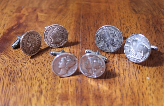 Indian Cufflinks Head Penny Coin Coin Collector Cuff Links