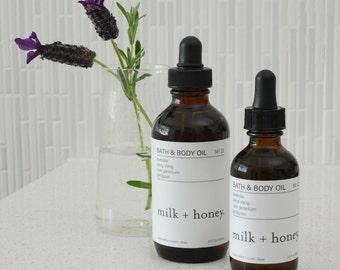 milk + honey Bath & Body Oil, Ylang Ylang, Rose Geranium, Petitgrain 2oz