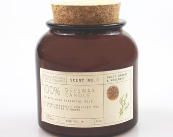 Sweet Orange & Rosemary Apothecary Beeswax Candle
