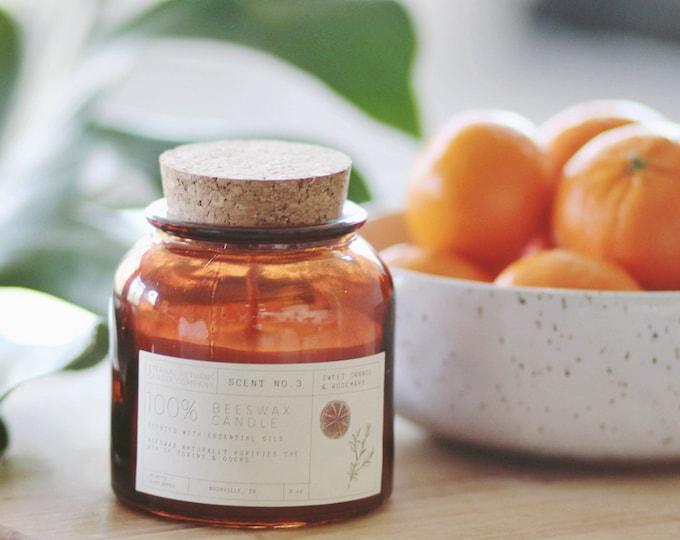 Sweet Orange & Rosemary Beeswax Candle