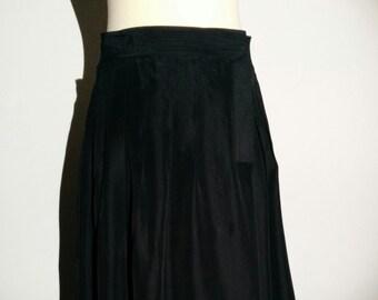 Black pleated silk skirt