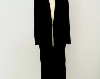 Black Velvet shawl collared full length evening coat