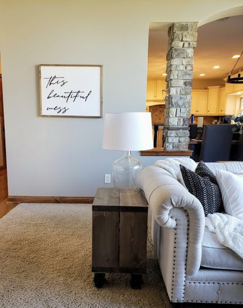 This Beautiful Mess wood sign Farmhouse sign Entryway Wall image 0