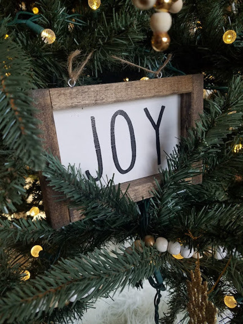 Wood Sign Ornament Holiday Ornament Christmas Tree Sign Joy