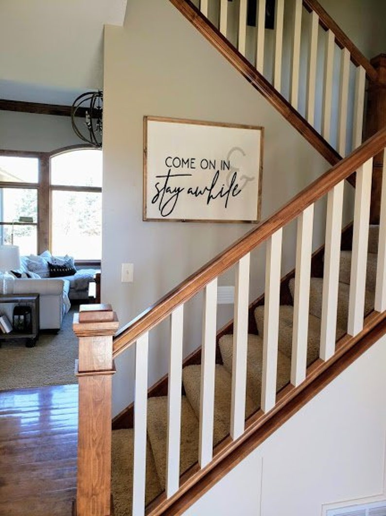 Come on in and Stay Awhile wood sign Farmhouse sign Entryway image 0