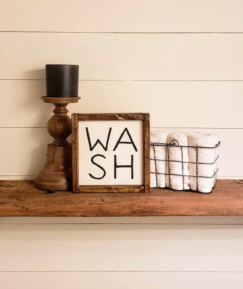 Wash Bathroom sign Bathroom decor Farmhouse Bathroom image 0