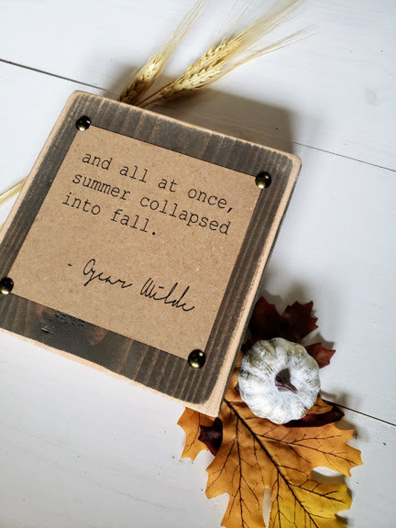 Typewriter Quote Block Inspirational Fall Quote Decor Summer image 0