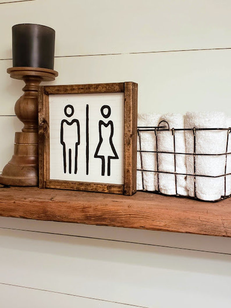 Restroom Bathroom sign Bathroom decor Farmhouse Bathroom image 0