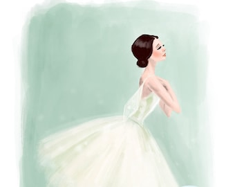 Ballernia painting,print,digitaldownload,jpeg,illustration,ballet,girl,childrens art, decor,printable,dance,dancer, wall art
