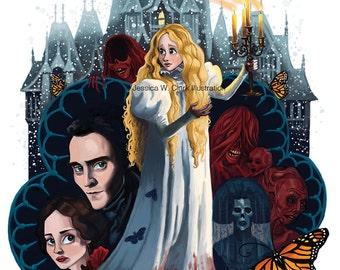 Crimson Peak Print, Fan art, Illustration, Halloween, art, Ghost, Haunted house, Movie art, Book illustration,JPEG, instant download,