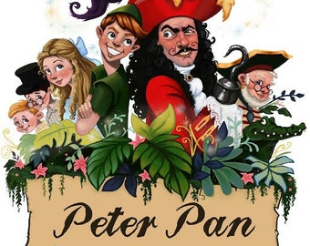 Peter Pan, disney, painting, illustration, children's book, artwork, nursey, fairy tale, kids room, digital downloads, wall art