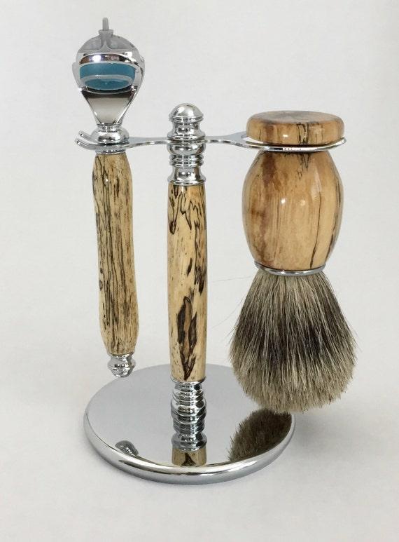 Fusion Razor Kit-3 Piece Razor Kit-Spalted Tamarind Wood Razor and Brush  Set-Handmade Razor Kit-Razor Kits For Sale-Gifts For Him #8-38